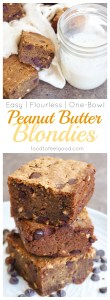 Flourless Peanut Butter Chocolate Chip Blondies | Gluten-Free | Dairy-Free | Grain-Free | No-Refined Sugar