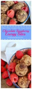 Paleo | Raw | Vegan | No Sugar Added | Chocolate Raspberry Energy Bites: These cuties are easy to make and are a super nutritious grab and go snack.