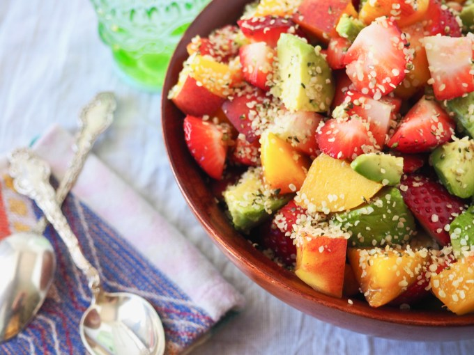 4-Ingredients, Vegan, Paleo, Whole30, Healthy Hempseed Avocado Fruit Salad