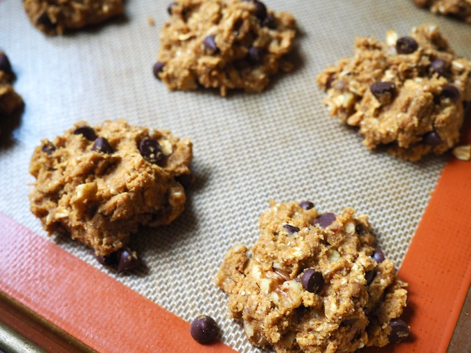 Vegan Gluten-Free Pumpkin Chocolate Chip Cookie dough on baking sheet