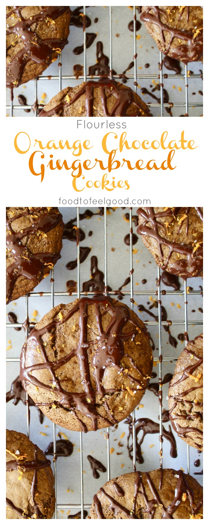 Paleo Flourless Orange Chocolate Gingerbread Cookies | A healthy, gluten-free, dairy-free, holiday recipe. #healthyrecipes #paleo #glutenfree #cookies #holidayideas