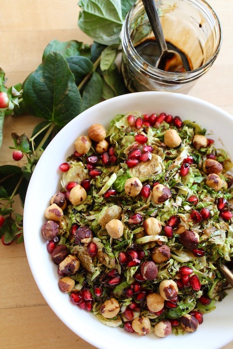 Pomegranate Hazelnut Shredded Brussels Sprouts with Maple Balsamic Glaze