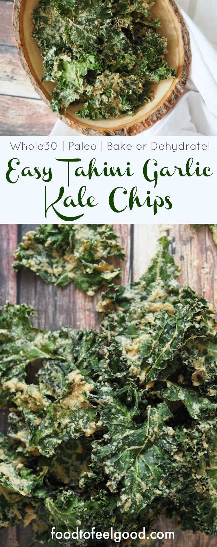 Easy Tahini Garlic Kale Chips | Vegan | Paleo | Whole30 | These savory, crunchy kale chips are a great snack when you want to eat clean and they're really easy to make, can use an oven or a dehydrator! #garlickalechips #kalechipsrecipe #whole30snacks #easykalechips