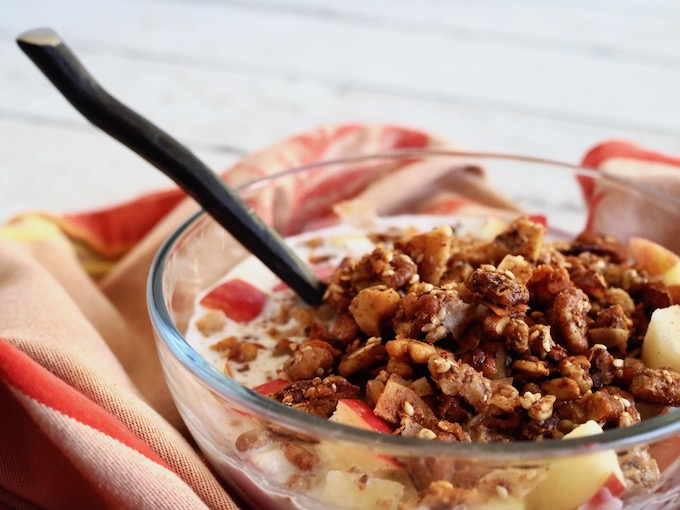 glass bowl of cinnamon crunch grain-free granola with coconut milk, apples, iron spoon and red towel