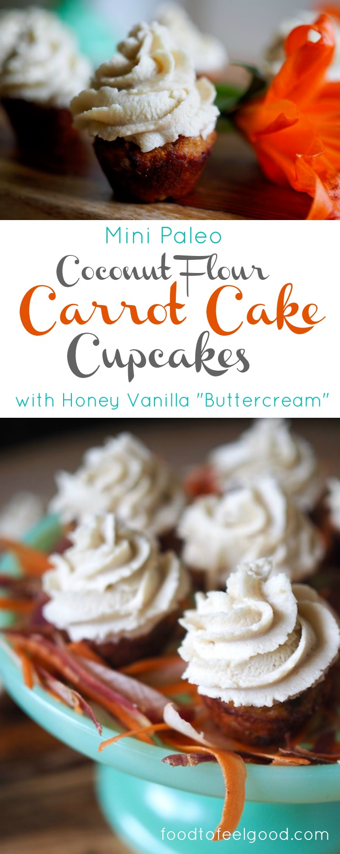 "Mini Coconut Flour Carrot Cake Cupcakes with Honey Vanilla ""Buttercream"" 
