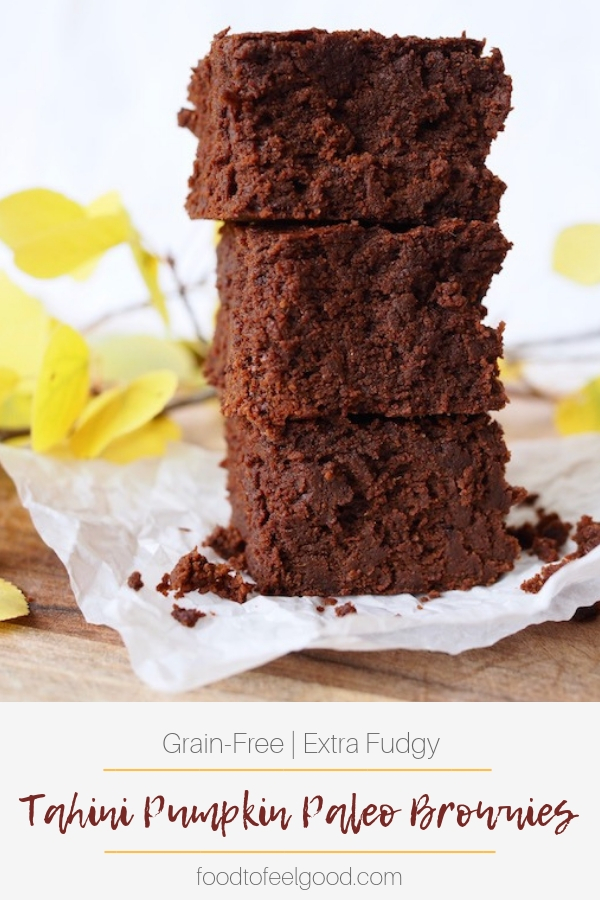 Grain-Free | Extra Fudgy | Tahini Pumpkin Paleo Brownies | These brownies are a decadent treat made with healthy ingredients. Easy to whip up and full of fall spices, they're the perfect combo of pumpkin pie spices and rich dark chocolate. #paleorecipes #brownies #healthydesserts #glutenfree #browniesrecipe #pumpkinrecipes