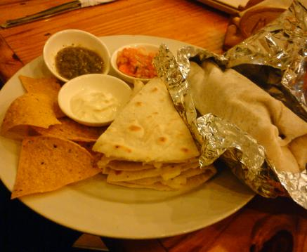 Grilled Steak Burrito and Cheese and Garlic Quesadilla Combo