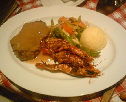 tenderloin steak and grilled butterfly prawns