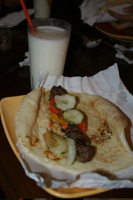 Shish Kabab and Yoghurt in Shake