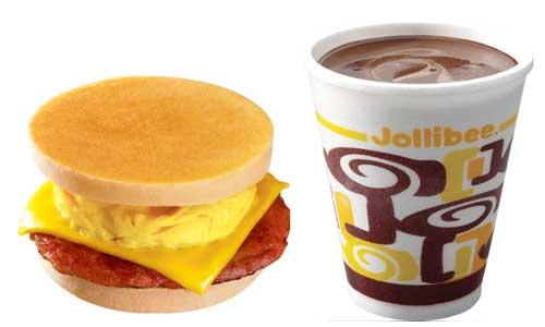 Breakfast Suggestion 1 Jollibee Pancake Sandwich With Cheese And Hot Chocolate