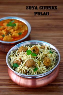 Soya chunks Pulao- how to prepare meal maker pulao