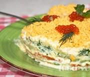 Слоеный салат Мимоза