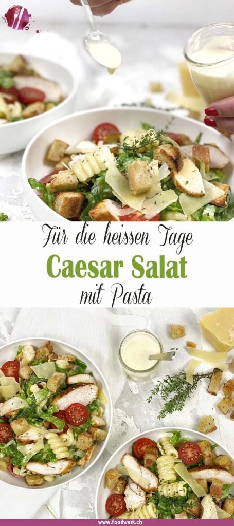 Pinterest Pin vom Caesar Salat mit Pasta