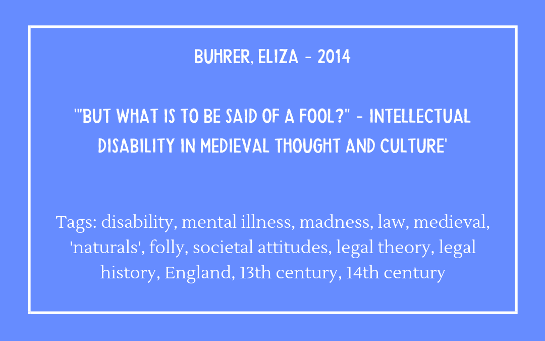 Buhrer, Eliza – 'But what is to be said of a fool?'