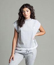 adidas Originals Womens High Neck Pinstripe T-Shirt