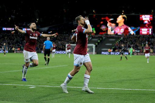 Javier Hernandez celebrates his goal against Burnley