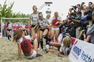Erotic actresses posing as German and Danish teams play soccer during Sexy Soccer game in Berlin