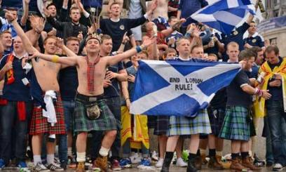 Tartan Army in high spirits in Trafalgar Square