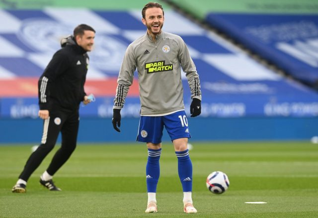 leicester city midfielder james maddison during warm up arsenal transfer target premier league e1626780612653
