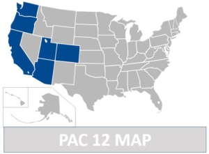 Map of teams of Pac 12
