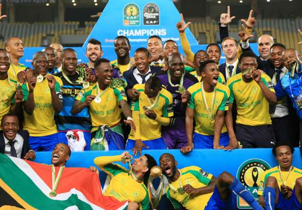 Mamelodi Sundowns celebrating their 2016 CAF Champions League triumph (Pic Cou: Goal.com)