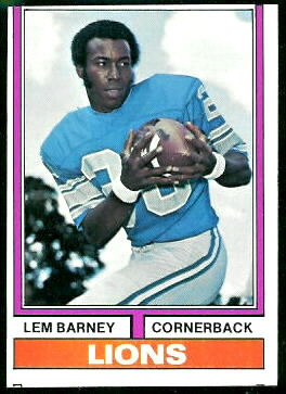 Lions Lem Barney - 1974 Topps #525 - Vintage Football Card Gallery