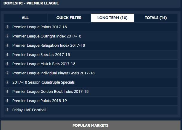 Premier League Spread Betting