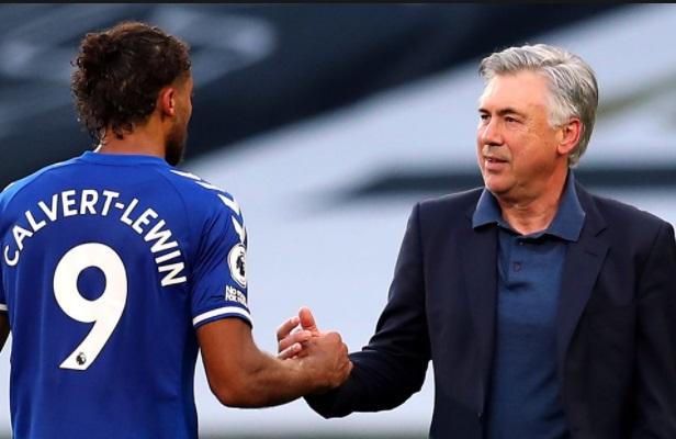 Everton Boss Carlo Ancelotti with Dominic Calvert-Lewin