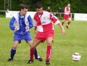 Mark Anderson playing for Sandhurst Town against Stuart Hammonds of Bracknell Town. Photo: getreading.co.uk