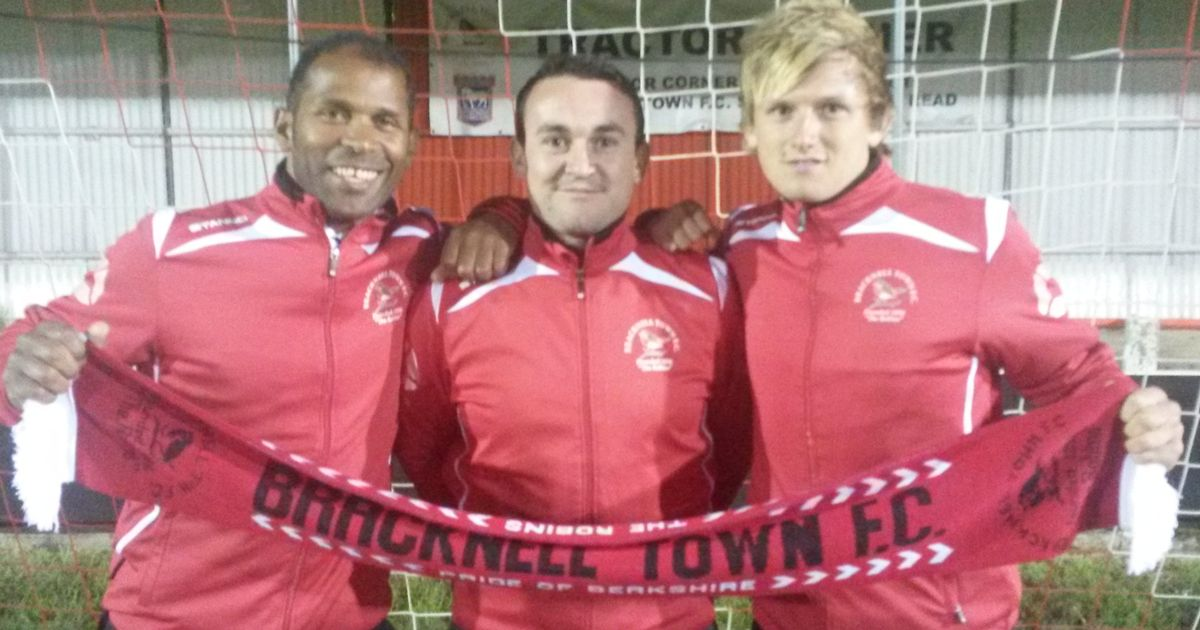 Keith Pennicott-Bowen, Ed Carpenter and Lee Simpson unveiled as the Bracknell Town management team in the summer of 2014.