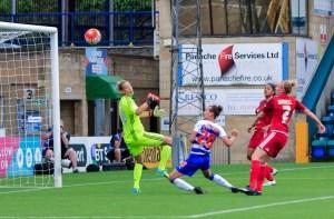 Melissa Fletcher scores for Reading FC Women. Photo: Neil Graham.