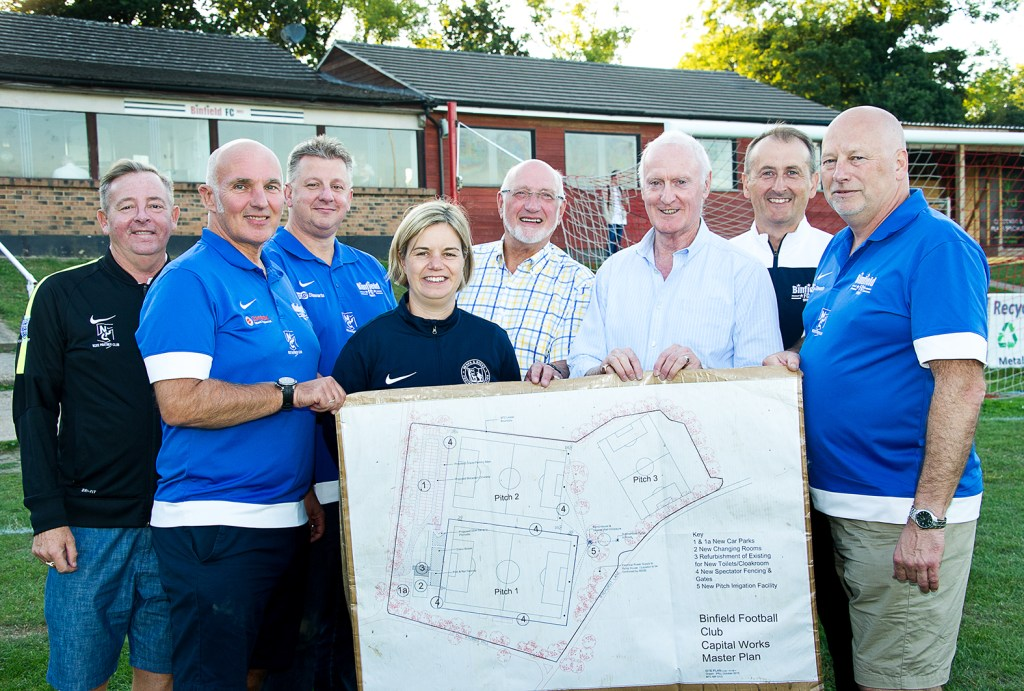 Binfield FC's approved plans – left to right, Rob Challis, Binfield FC Football Secretary, Bob Bacon, Binfield FC Chairman, Graham Taylor, Binfield FC Treasurer, Liz Pill, Berks & Bucks FA, Ian Leake, Binfield Parish Council, Iain McCracken, Bracknell Forest Borough Council, Roger Herridge, Binfield FC 1st Team Manager, Glenn Duggleby, Binfield FC Project Director. Photo: Colin Byers.