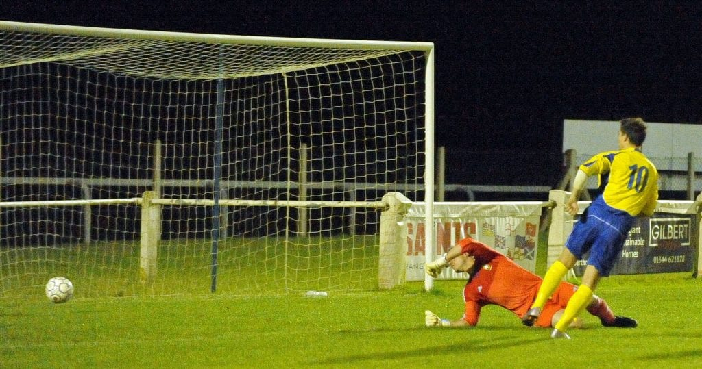 Ben Knight scores but is ruled offside for Ascot United FC. Photo: Mark Pugh.