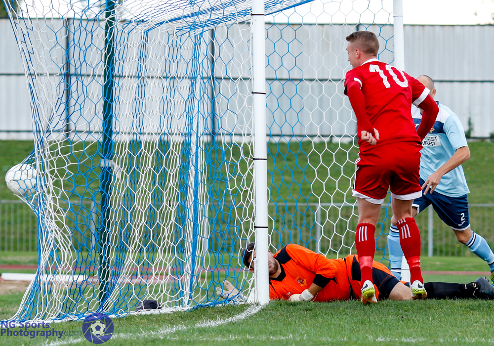 TJ Bohane doesn't miss from there for Bracknell Town FC. Photo: Neil Graham.