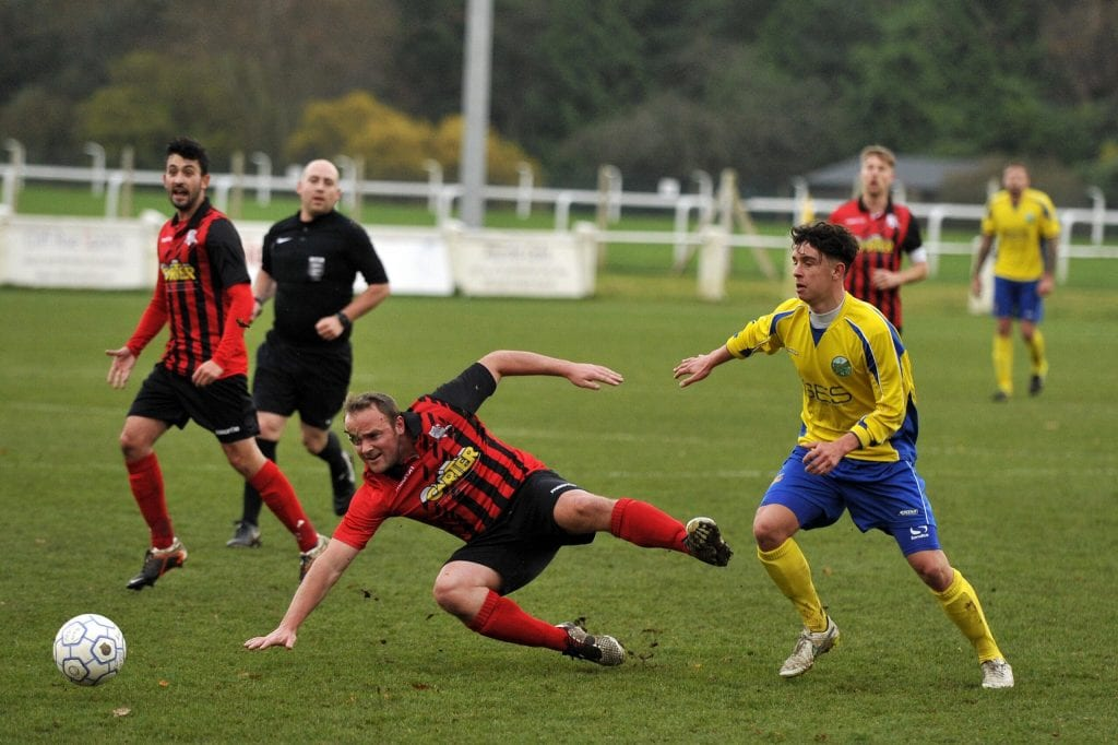 Ascot United frontman Samir Regragui scores twice for the Yellamen. Photo: Mark Pugh.