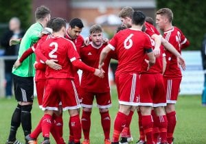 Bracknell Town pre match huddle. Photo: Neil Graham.