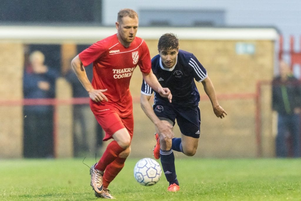 Khalid Senussi for Bracknell Town against Flackwell Heath. Photo: Neil Graham.