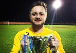 Lee Barefoot with the Bracknell Sunday League Cup. Photo: Neil Graham