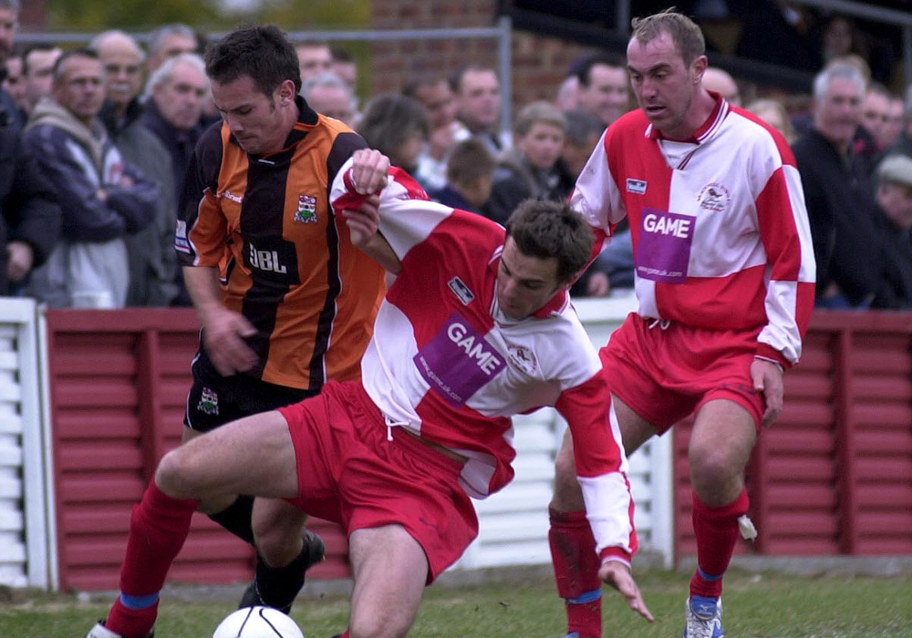 Gavin Smith and James Glynn take on Barnet for Bracknell Town in the FA Cup 2003.