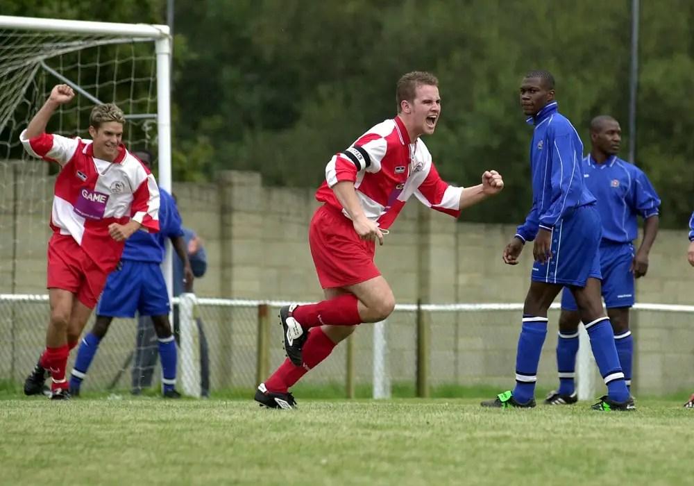 Neil Baker scores for Bracknell Town against Carshalton Athletic at Larges Lane.