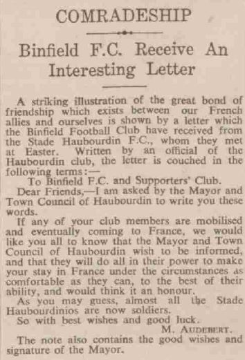 A letter from Harboudin to Binfield in 1939.