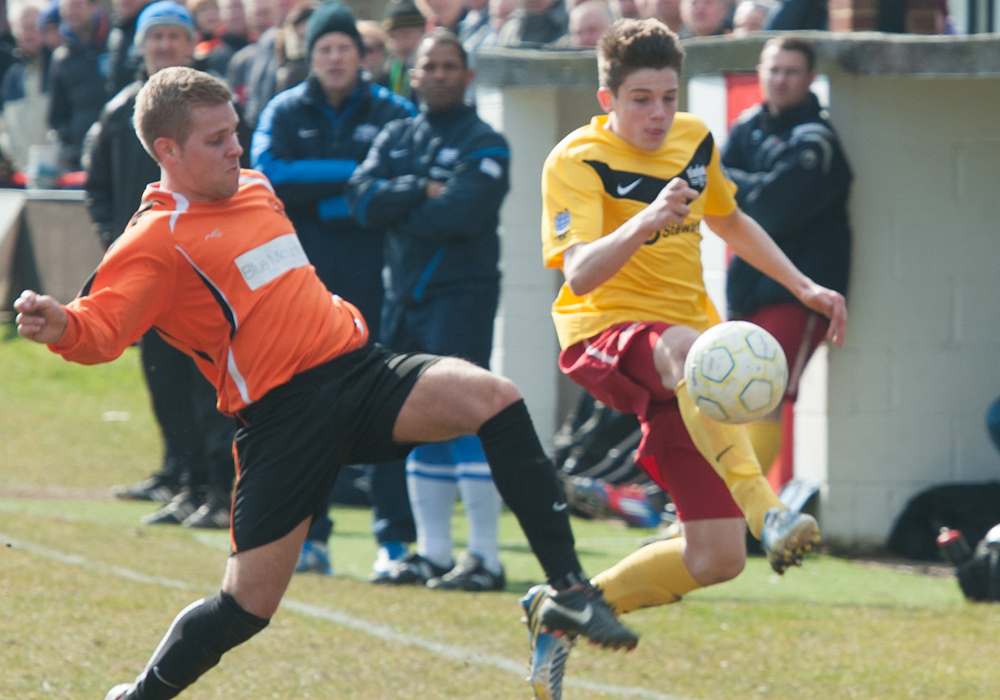 A young Seb Bowerman playing for Binfield FC against Wokingham & Emmbrook. Photo: Colin Byers.