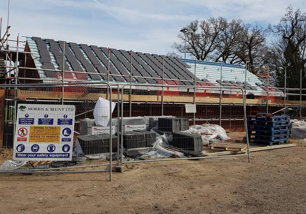 Roof going on at Binfield FC development