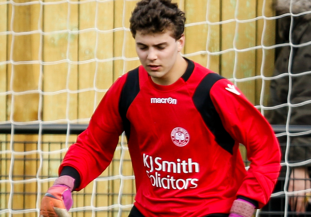 Woodley United goalkeeper Alex Reed. Photo: Neil Graham.