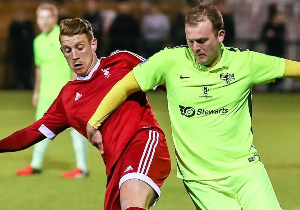 Bracknell Town vs Binfield - TJ Bohane and Jeff Brown. Photo: Neil Graham.