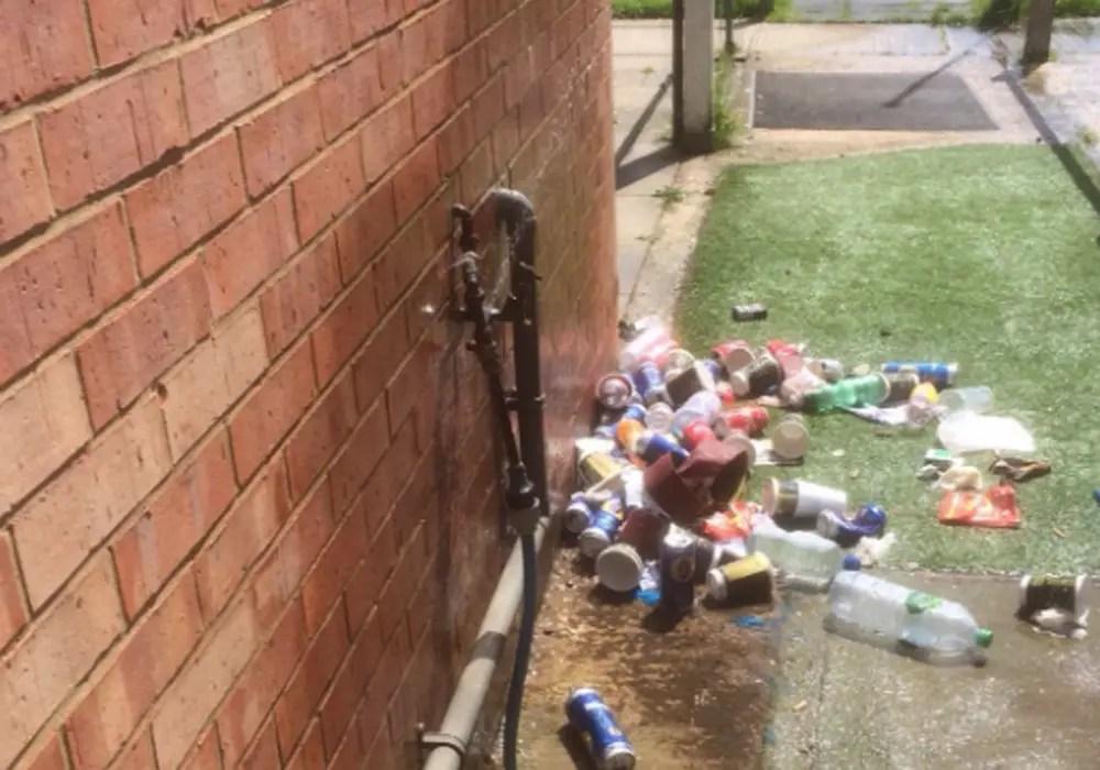 Damage to external piping at Sandhurst Town. Photo: @sandhursttownfc