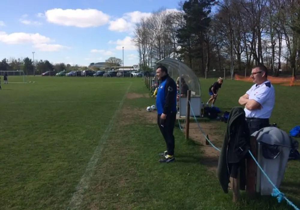 Ascot United Ladies manager Darrel Evans pitchside.