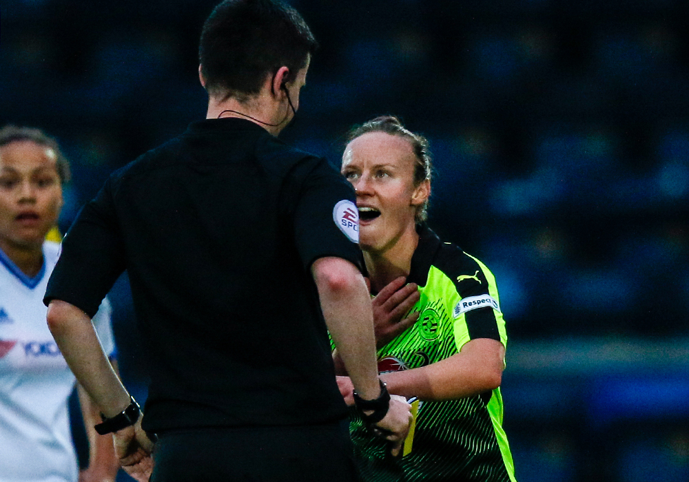 Remi Allen talks with the match referee. Photo: Neil Graham.