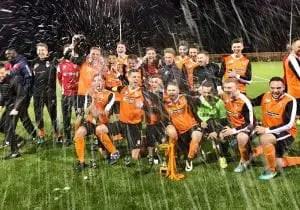 WAB FC celebrate Bracknell Sunday League cup success. Photo: Dave Wright.