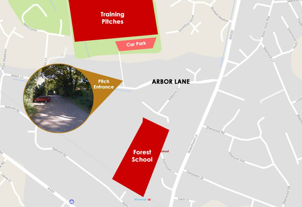 How to find the Binfield Ladies training pitches.